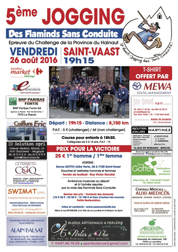 5ème édition Jogging Flaminds sans conduite Saint Vaast 26 août 2016